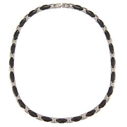 La Preciosa Stainless Steel Black Ceramic Necklace