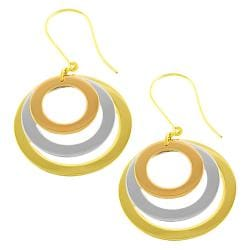Fremada 14k Tri-color Gold Graduated Open Disc Dangle Earrings