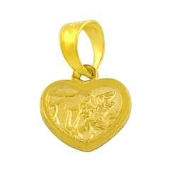 Fremada 14k Yellow Gold Cupid Heart Pendant
