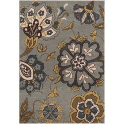 Meticulously Woven Contemporary Sea Blue Floral Iris Rug (2'2 x 3')