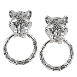 Sunstone Sterling Silver Lionhead Door Knocker Earrings
