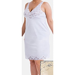 Ilusions Women's Plus Size Lace Detail Antistatic Full Slip