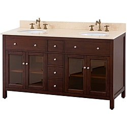 Avanity Lexington 60-inch Double Vanity in Light Espresso Finish with Dual Sinks and Top