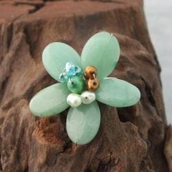 Silvertone Aventurine and Pearl Flower Ring (3-7 mm)(Thailand)