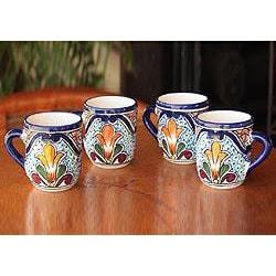 Set of 4 Handcrafted Ceramic 'Taste of Mexico' Talavera Mugs (Mexico) 8606826