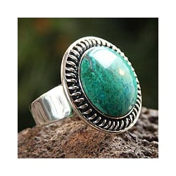 Sterling Silver 'Andean Moon' Chrysocolla Cocktail Ring (Peru) 8606852