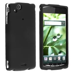 INSTEN Black Snap-on Rubber Coated Phone Case Cover for Sony Ericsson Xperia Arc X12