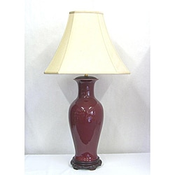 Traditional Tall Red Oxblood Fluted Table Lamp