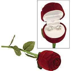 Premium Cubic Zirconia Earrings with Red Rose Box (Case of 100)