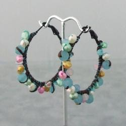 Festive Multicolor Drizzle Blue Chalcedony-Pearl Cotton Hoop Earrings (Thailand)