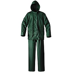 Mossi Simplex Waterproof Green PVC Rain Suit with Cinch-down Hood