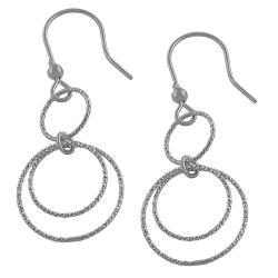 Fremada Rhodium Plated Silver Diamond-cut Multi-loop Dangle Earrings