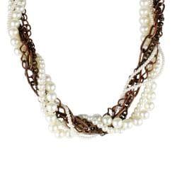 Coppertone Chain Faux Pearl Multi-strand Necklace