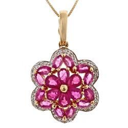 D'Yach 14k Yellow Gold Thai Ruby and Diamond Accent Necklace