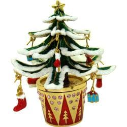 Objet d'Art 'Let it Snow' Flocked Christmas Tree Trinket Box 8633082