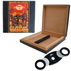 Cuban Crafters 'Salazar' Travel Cigar Humidor with Black Aluminum Perfect Cutter