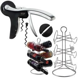 VIP Wine Accessories Opener Set with 6-Bottle Wine Rack