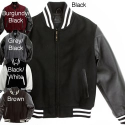 United Face Boy's Leather Sleeve Baseball Jacket