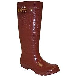 Apple Bottoms Women's 'Croco' Brown Rainboots