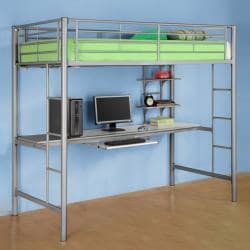 Sunset Twin/Workstation Silver Bunk Bed
