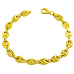 Fremada Gold over Sterling Silver Puffed Mariner Link Bracelet