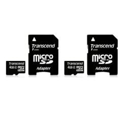 Transcend 4 GB Class 4 microSDHC Flash Memory Card (Pack of 2)
