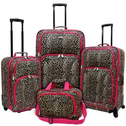 U.S. Traveler by Traveler's Choice Pink Leopard Fashion 4-piece Spinner Luggage Set