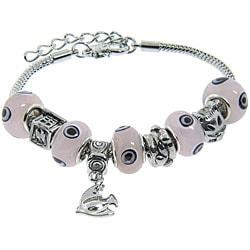 Eternally Haute Silver Overlay Murano-style Glass Evil Eye Charm Bracelet