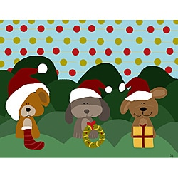Ankan 'Dogs in Christmas' Gallery-wrapped Canvas Art