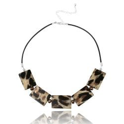 Glitzy Rocks Sterling Silver Leopard Stone Necklace