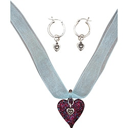 Beadwork By Julie Sterling Silver / Glass Heart Ribbon Necklace and Earrings 8665592
