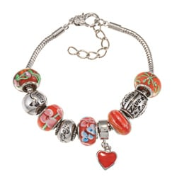 La Preciosa Silverplated Red Glass Bead Charm  Bracelet 8676589