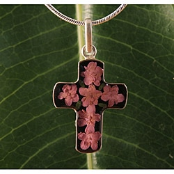 Sterling Silver Light Purple Flowers Bouquet Cross Necklace (Mexico)