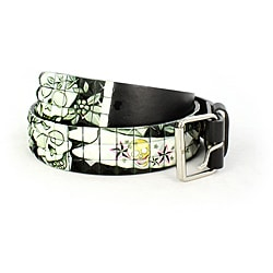 Faddism Men's Casual Black Skull Stud Belt