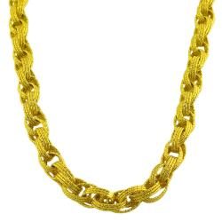 Fremada Gold over Silver 3-row Diamond-cut Oval Link Necklace