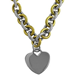 Fremada Two-tone Stainless Steel Heart Charm Necklace
