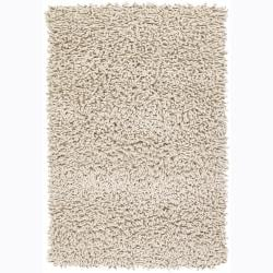 Handwoven Three-Inch Ivory Mandara New Zealand Wool Shag Rug (7'9 Round)