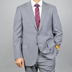 Men's Grey Sharkskin Slim-Fit Wool Suit