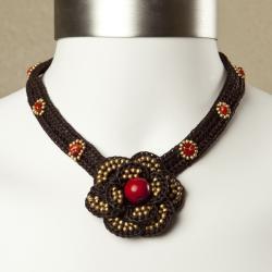 Red Coral Floral Cotton Rope Necklace (Thailand)
