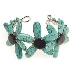 Reconstructed Turquoise and Mother of Pearl Cuff Bracelet (Thailand)