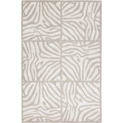 Candice Olson Hand Knotted Draper White Animal Pattern Wool Rug (5' x 8')