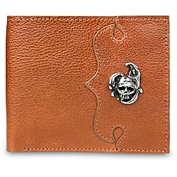 Zeyner Cognac Italian Leather Bifold Wallet with Handmade Hardware