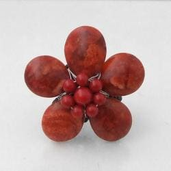 Red Coral Daisy Cotton Rope Ring (Thailand)