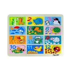 Puzzled Raised Puzzle Counting to Twelve with Animals Wooden Puzzle Toy 8723513
