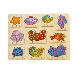 Puzzled Raised Puzzle Ocean Life Math Wooden Puzzle Toy 8723514