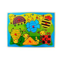 Puzzled Peg Puzzle Insects Shapes Wooden Puzzle Toy 8723515