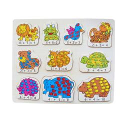 Puzzled Raised Puzzle Math Animals Wooden Puzzle Toy 8723516
