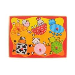 Puzzled Raised Puzzle Farm Animals Shapes Wooden Puzzle Toy 8723518