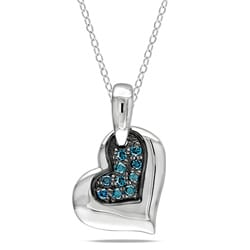 M by Miadora Sterling Silver 1/10ct TDW Blue Diamond Heart Necklace