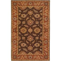 Hand Tufted Belcher Brown Floral Border Wool Rug (12' x 15')